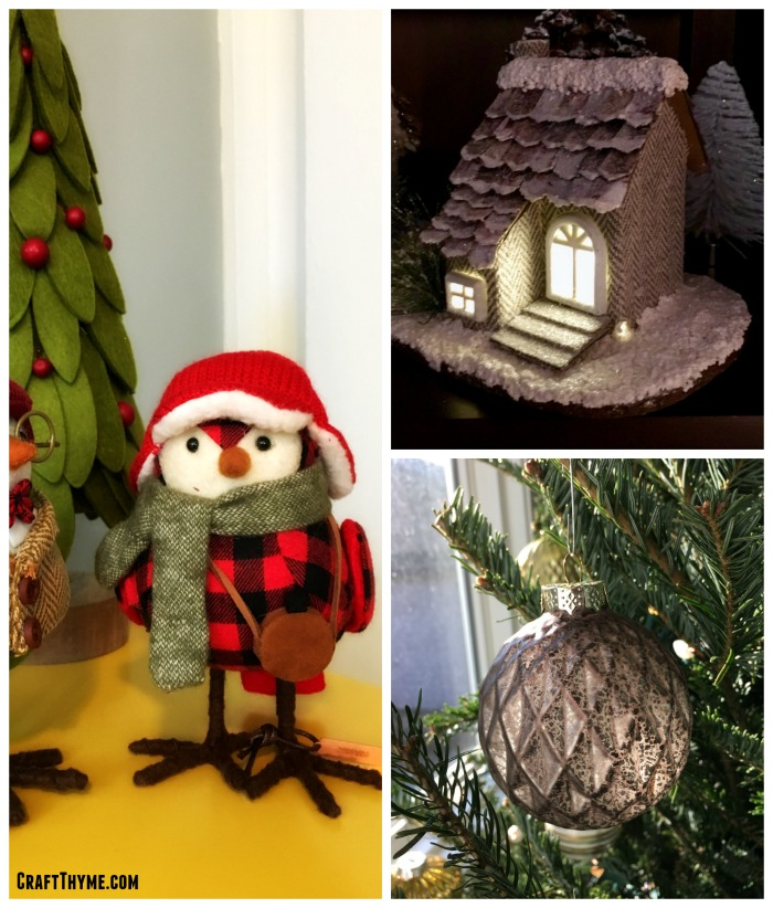 Felt Christmas bird with felt snow village and rustic glass ornaments