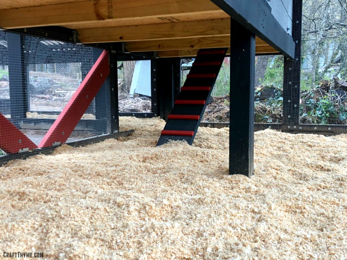 Red and black modern ramp for our custome built chicken coop