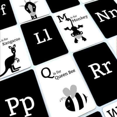 Black and White Alphabet flash cards
