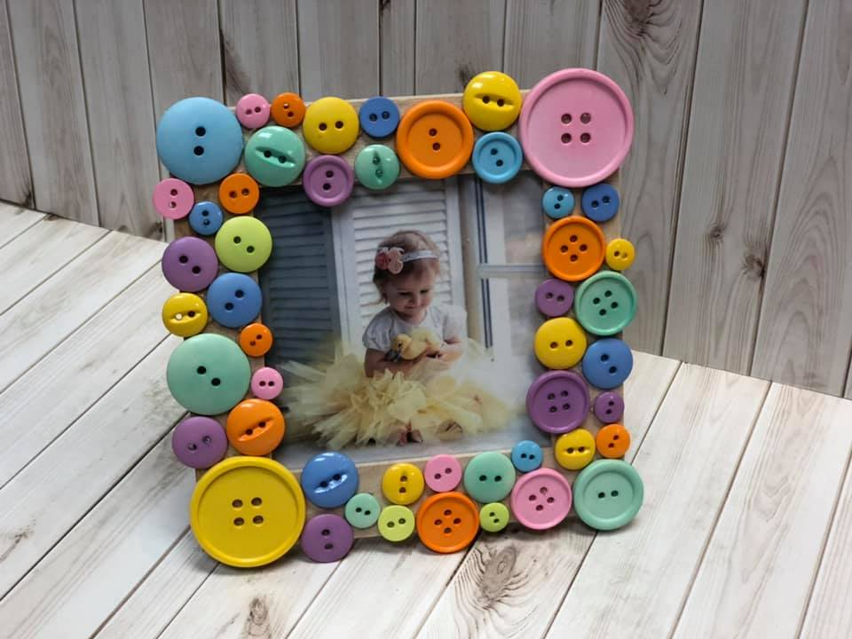 Spring Button Picture Frame