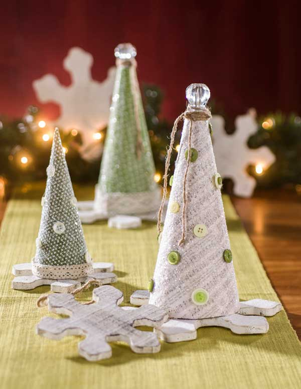 Christmas Glitter Paper Mache Cones with Snow Flake Bases