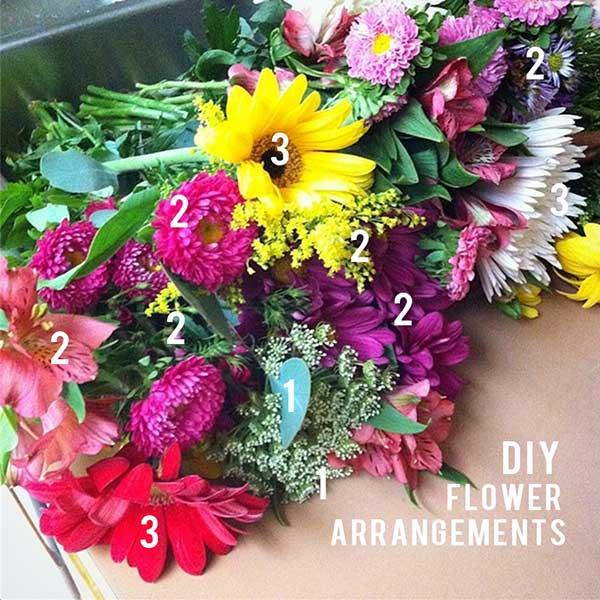 Diy Flower Arrangements And Gold Glitter Vases