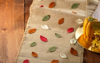 Burlap Fall Leaf Table Runner
