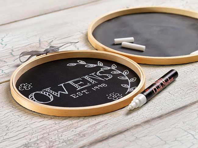 DIY Chalkboard Embroidary Hoops