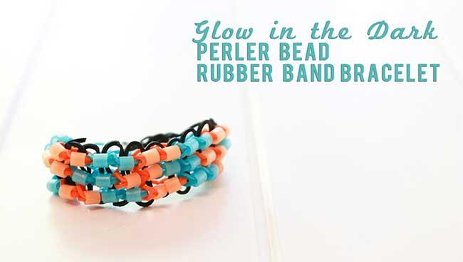 Glow in the Dark Perler Bead Rubber Band Bracelet