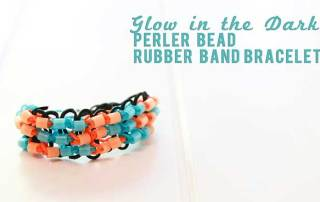 Glow in the Dark Perler Bead Rubber Band Bracelet