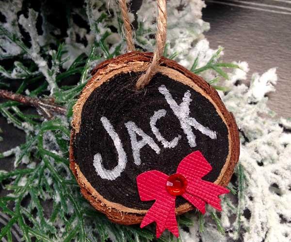 Chalkboard Wood Slice Ornament