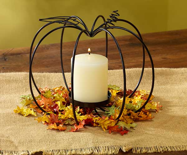 Wire Pumpkin-Shaped Candle Holder