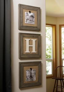 Barnwood Burlap Photo trio