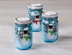 Blue Snowman mason jar gift
