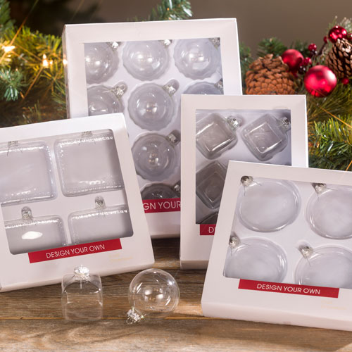 Clear Christmas Ornaments.Clear Glass Boxed Ornaments Craft Warehouse