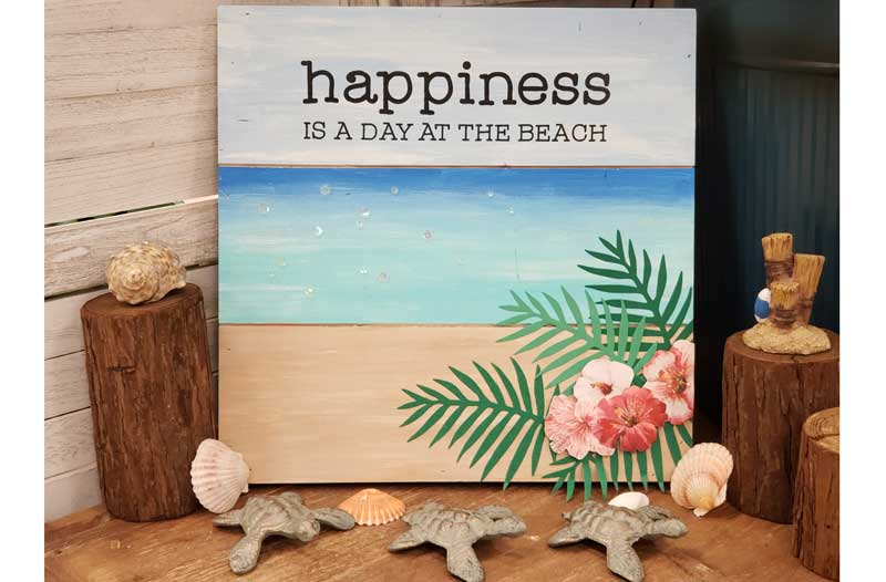"""Happiness is a Day at the Beach"""" Pallet Board"""