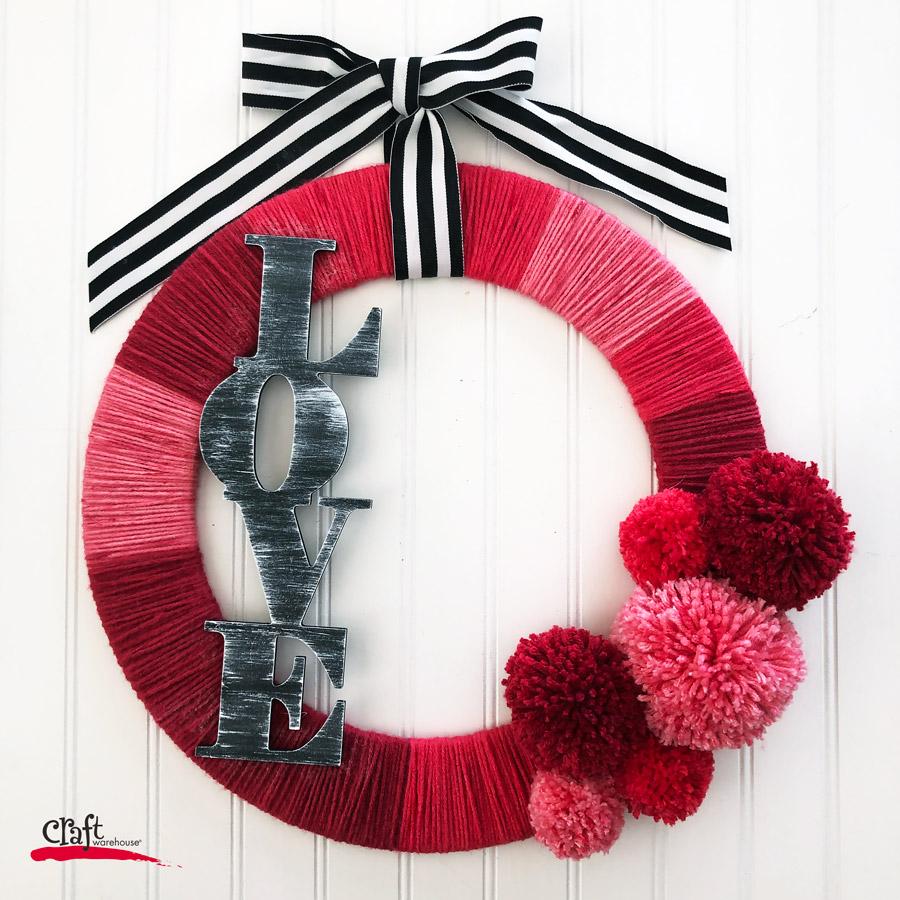 A Valentine's Love Yarn Wreath