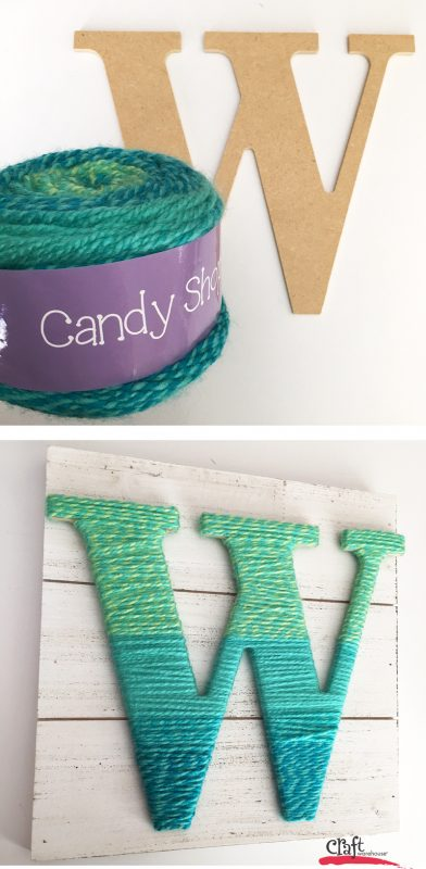 Making a yarn wrapped letter at Craft Warehouse