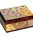 Wood burned quilt like design on wood box