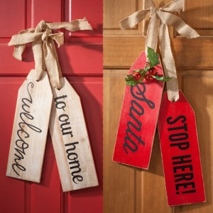 """Welcome to Our Home"" or ""Santa Stops Here"" Wood Tags"
