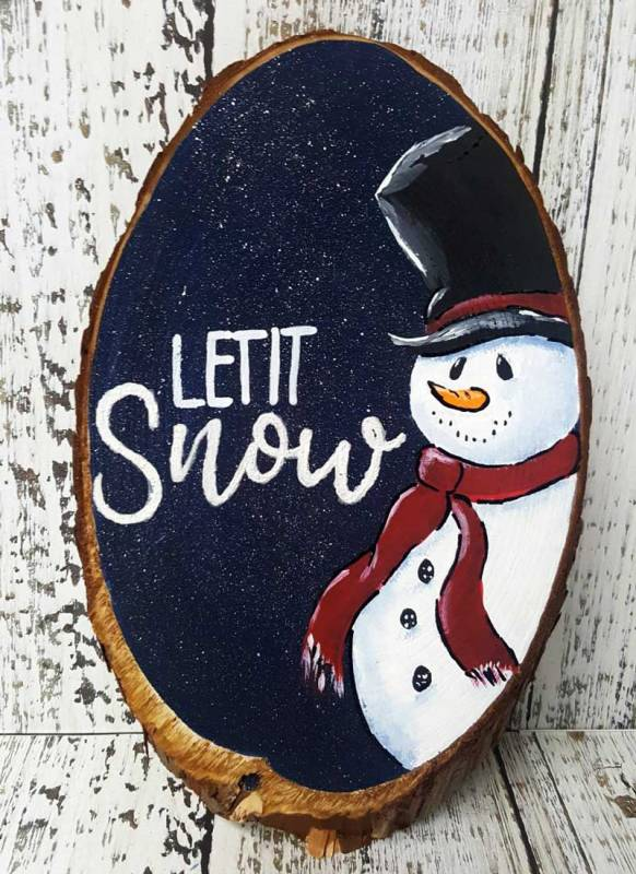 Paint a Snowman Winter Plaque