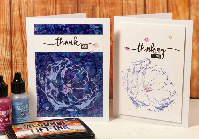 Card making with Alcohol Lift-Ink Pad by Tim Holtz