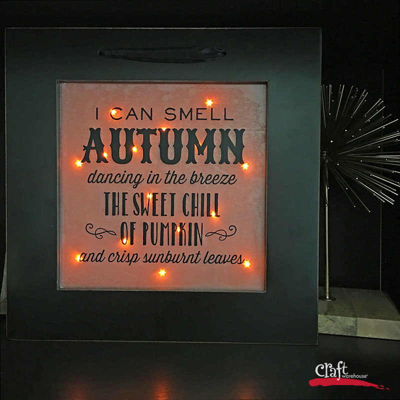 Autumn Frame with lights and holographic paper