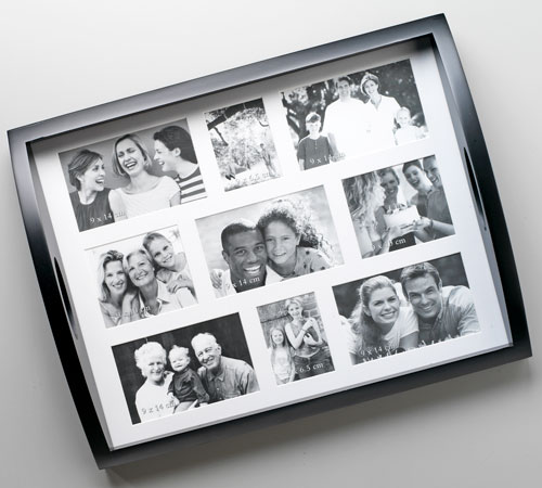 Black and White Photo Collage Tray