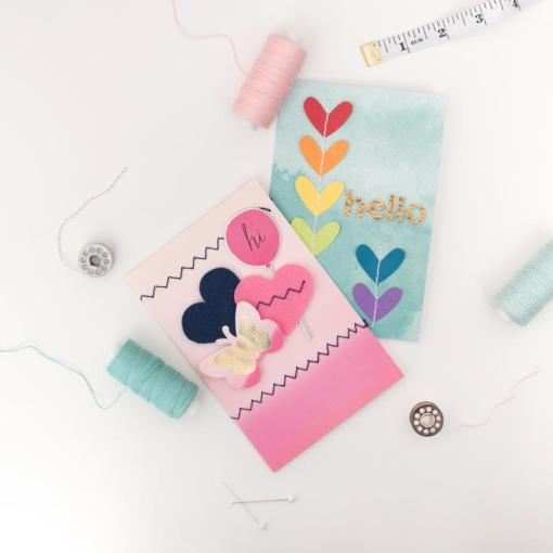Cards made with the Stitch Happy Sewing Machine available at Craft Warehouse