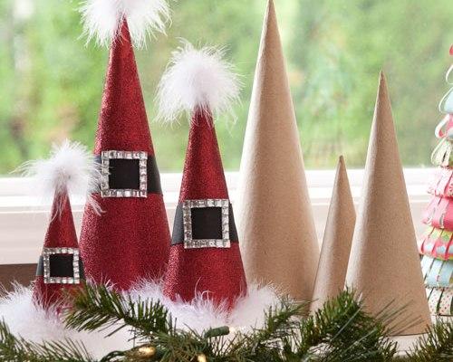 Paper Mache Cones Santa Hat