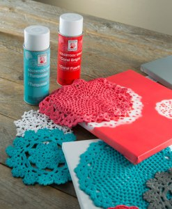 Paint canvases with doilies from Craft Warehouse