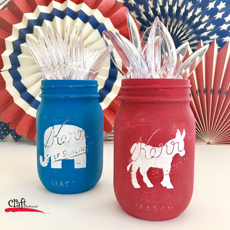 Make these Easy Election Party Mason Jars from Craft Warehouse