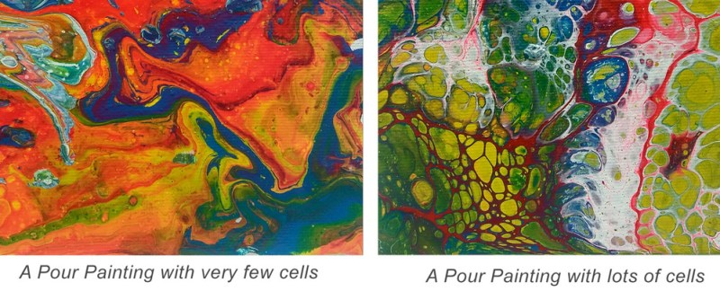 Example of cells in pour paintings