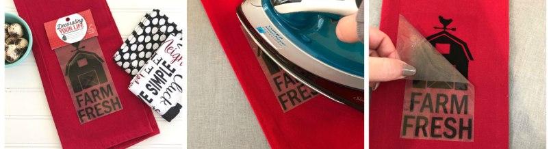 Ironing on vinyl on towel
