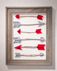cupid heart felt arrows in open frame wall art