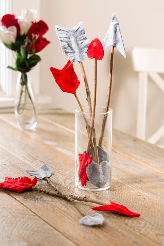 Cupid Valentines Felt Wood Arrow