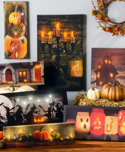 Light up Canvas Pictures for Fall and Halloween at Craft Warehouse