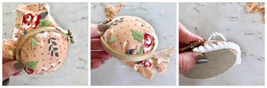 Making a pincushion with an embroidery hoop