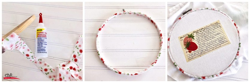 Steps to creating a vintage recipe hoop art