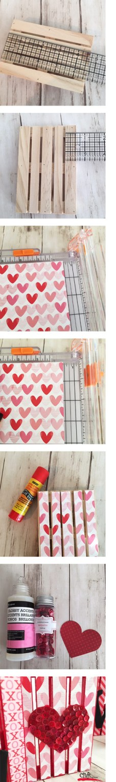 Steps on how to make mini crate Valentines Love sign at Craft Warehouse