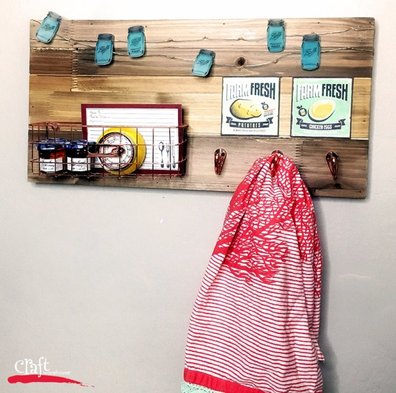 Kitchen Organizer Board with Mason Jar String Shrinky Dink Lights