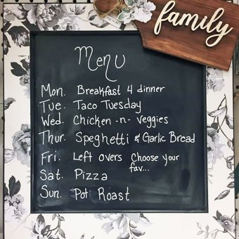 Create a menu board for the kitchen