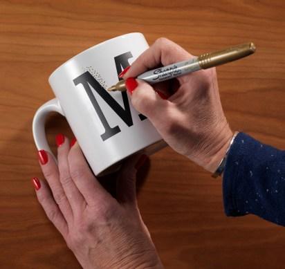 Creating an intital mug cup at Craft Warehouse