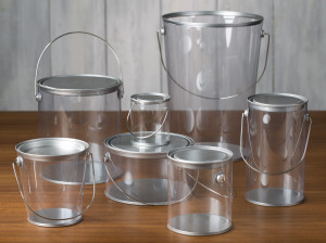 Clear plastic storage paint pails