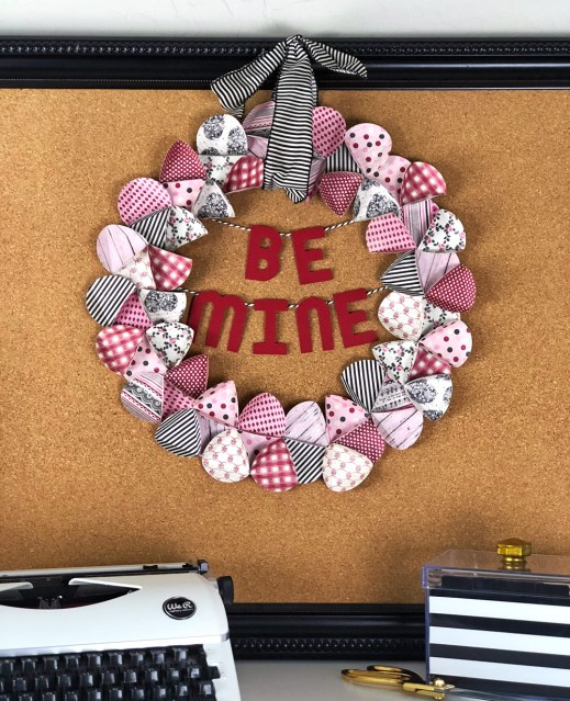 Paper Valentines Wreath with Authentique papers
