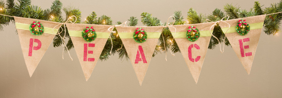 Christmas burlap pennent banner