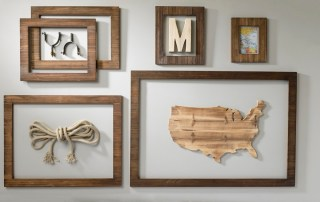 Rustic open back wall frame display