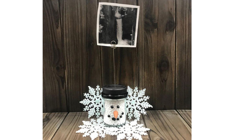 Snowman Jar Photo Holder