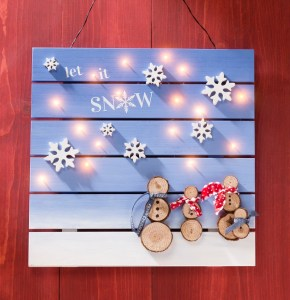 Snowman Wood Slat board for holiday decor