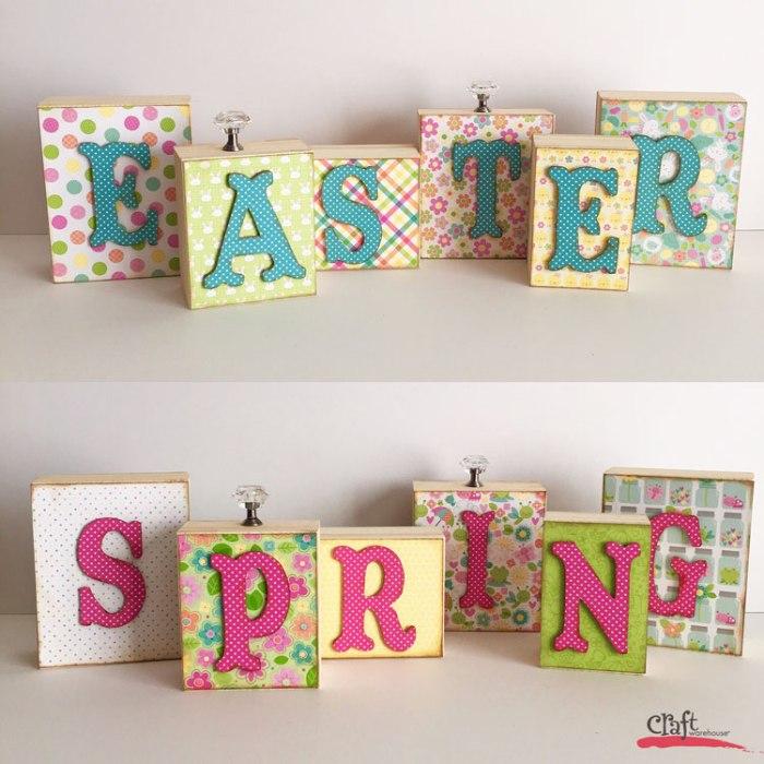 Spring Easter Wood Block Word Display at Craft Warehouse