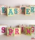 Spring Easter Wood Block Word Display