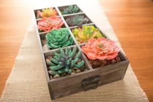 faux succulant garden box