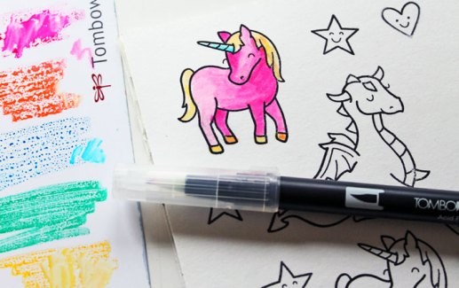 coloring in stamps with tombow markers
