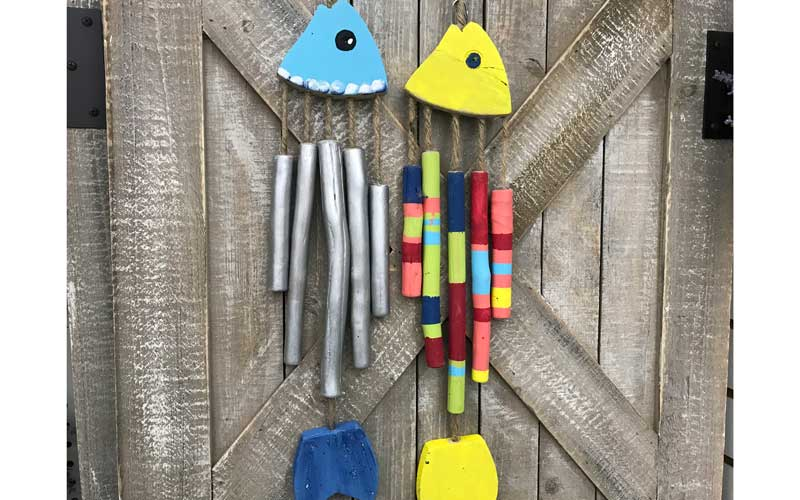 Wooden Painted Fish Wind Chime